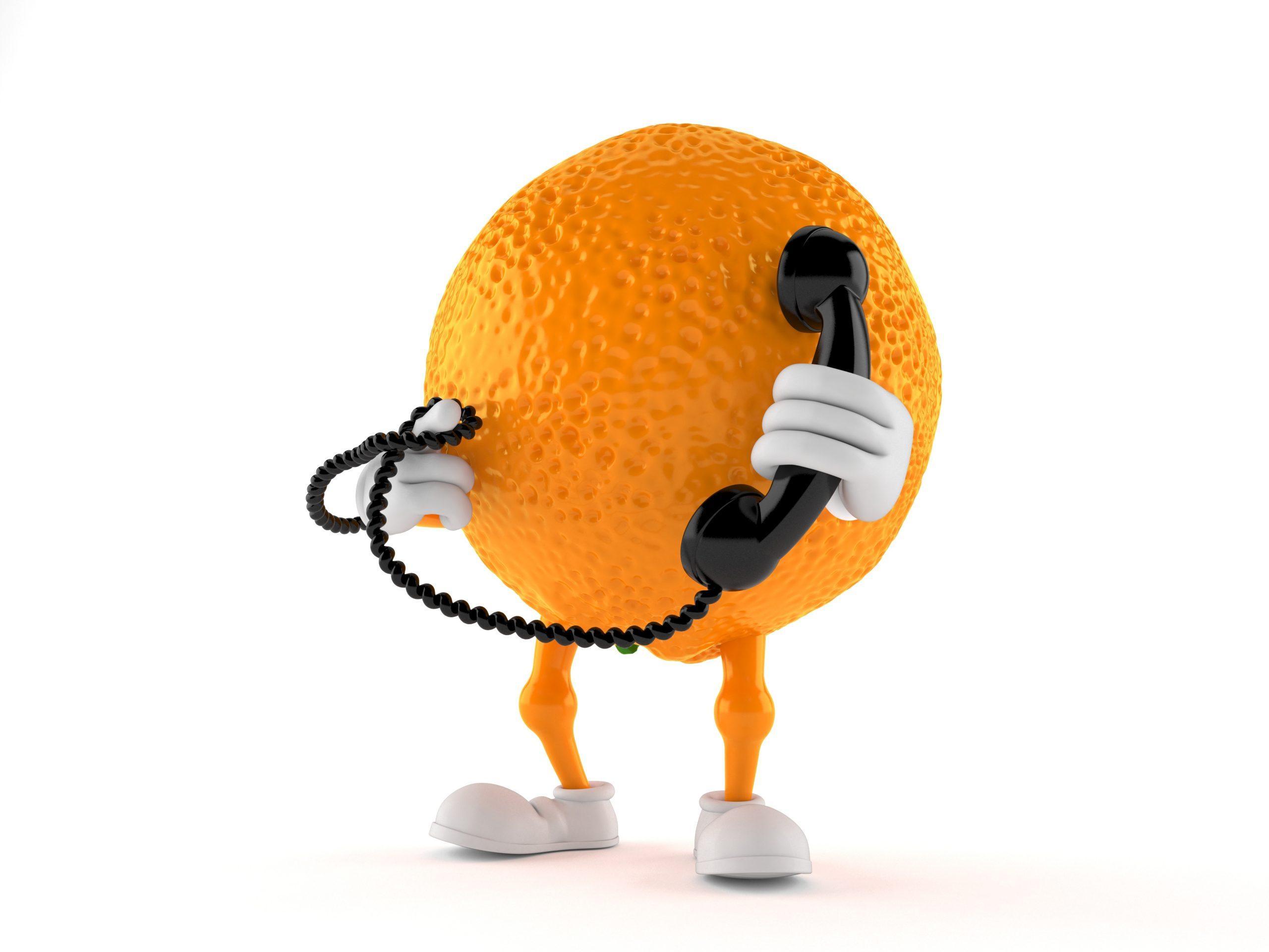 Orange character holding a telephone handset isolated on white background